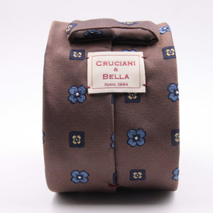 Cruciani & Bella 100% Silk Jacquard  Brown, Blue, Yellow and Light Blue Flowers Tie Handmade in Italy 8 cm x 150 cm #4478