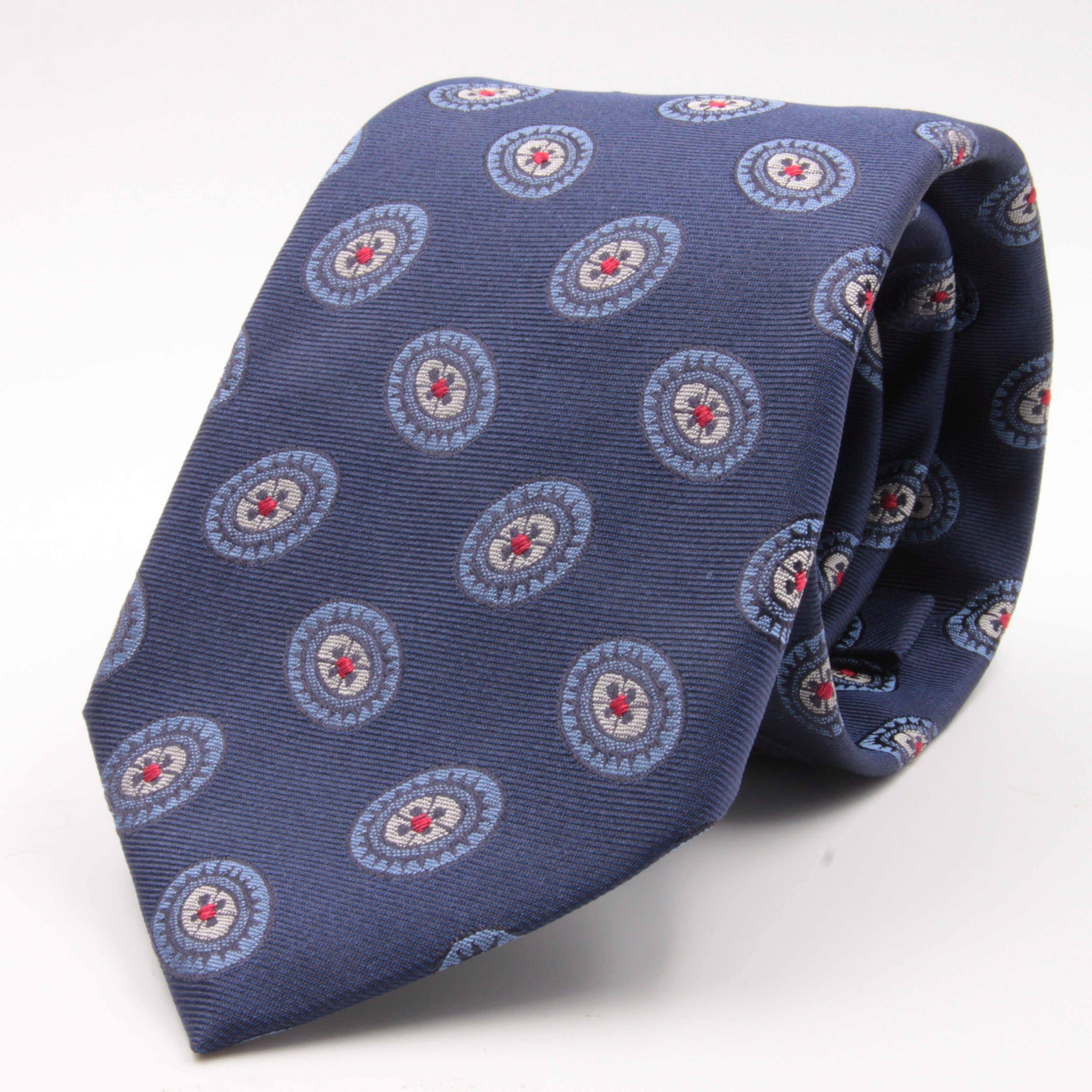 Cruciani & Bella 100% Silk Jacquard  Blue, Light Blue, Red and White Medallions Tie Handmade in Italy 8 cm x 150 cm #3779