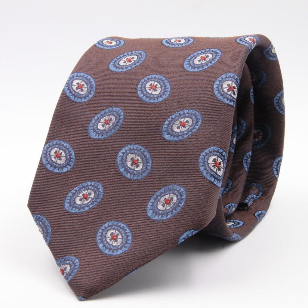 Cruciani & Bella 100% Silk Jacquard  Brown, Light Blue, Red and White Medallions Tie Handmade in Italy 8 cm x 150 cm #3780