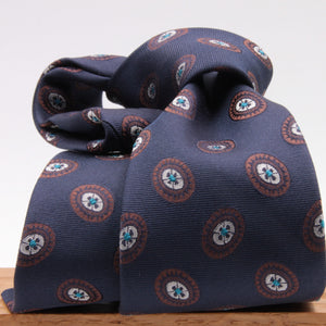 Cruciani & Bella 100% Silk Jacquard  Blue, Brown, Turquoise and White Medallions Tie Handmade in Italy 8 cm x 150 cm #3781
