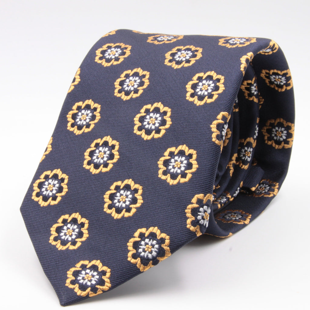 Cruciani & Bella 100% Silk Jacquard  Blue, Yellow and White Medallions Tie Handmade in Italy 8 cm x 150 cm #4480