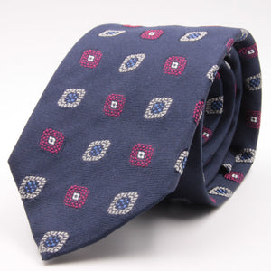 Cruciani & Bella 100% Silk Jacquard  Blue, Magenta, Light Blue and White Medallions Tie Handmade in Italy 8 cm x 150 cm #4482
