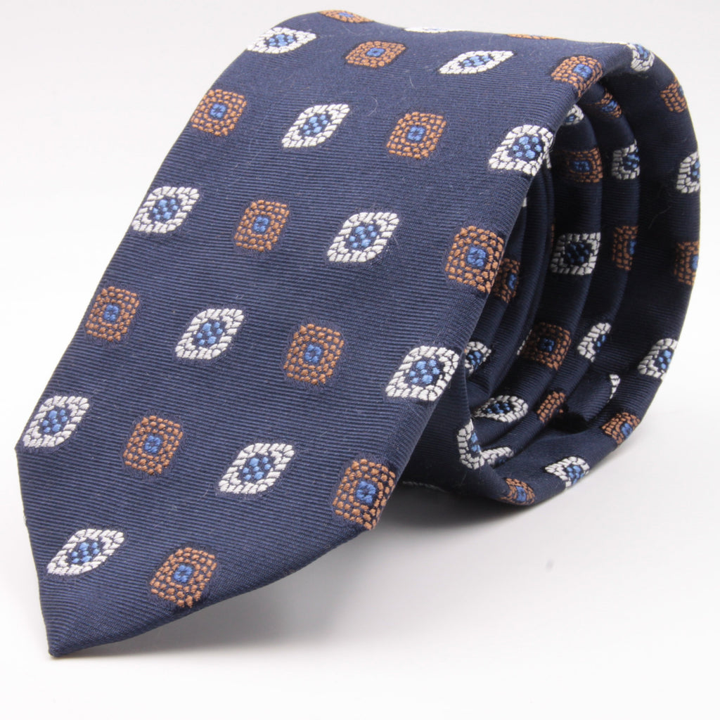 Cruciani & Bella 100% Silk Jacquard  Blue, Brown, Light Blue and White Medallions Tie Handmade in Italy 8 cm x 150 cm #4484