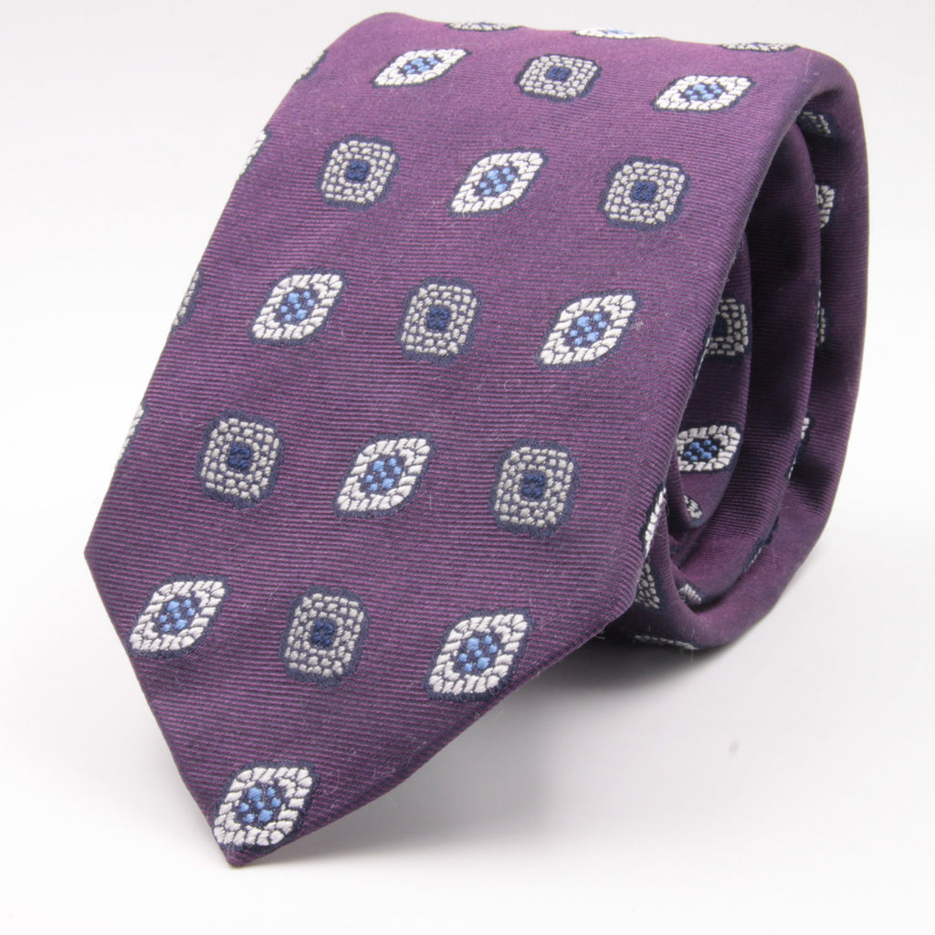 Cruciani & Bella 100% Silk Jacquard  Purple, Light Grey, Light Blue and White Medallions Tie Handmade in Italy 8 cm x 150 cm #4485