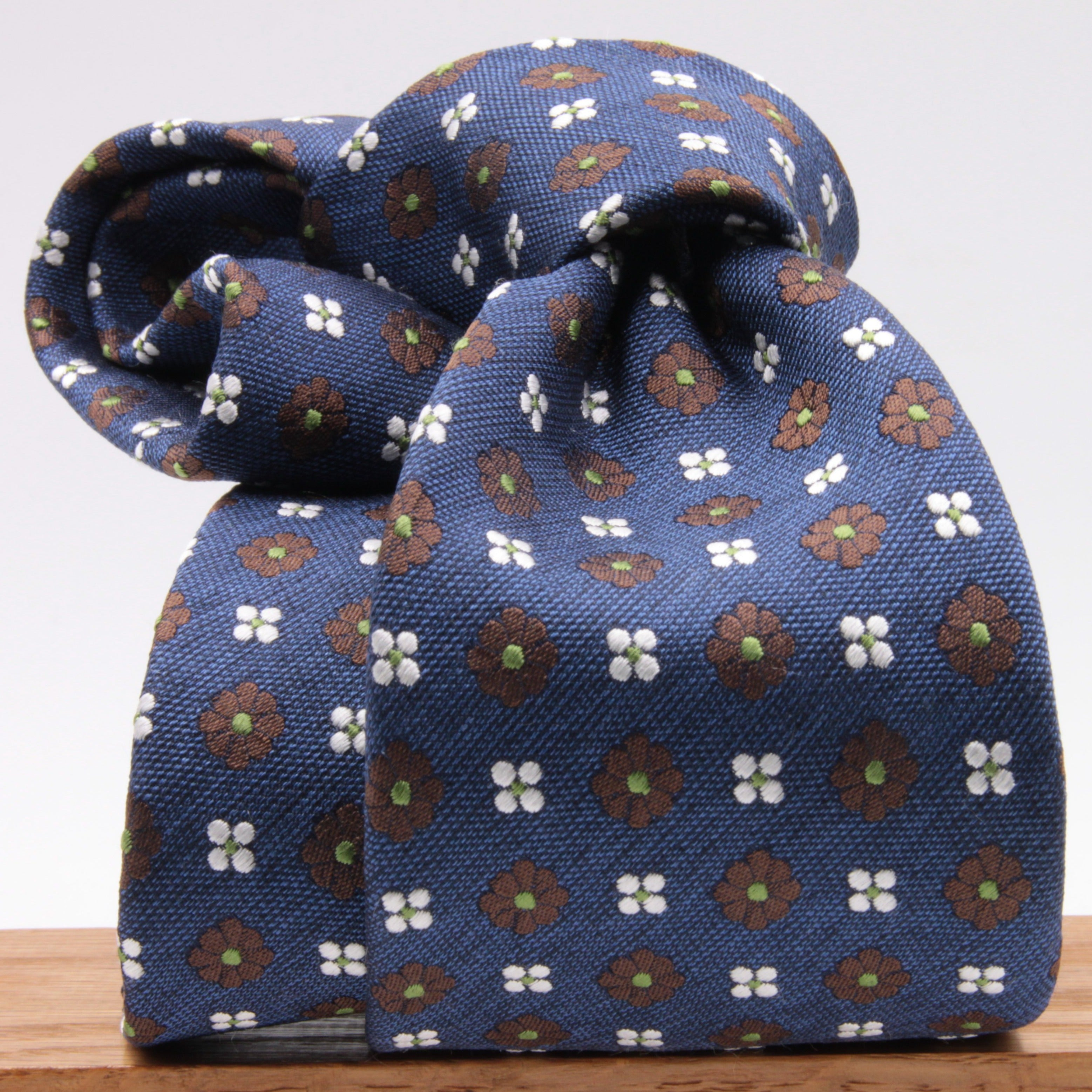 Cruciani & Bella 100% Silk Jacquard  Blue, Brown, Green and White Flowers Tie Handmade in Italy 8 cm x 150 cm #4438