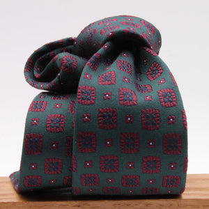 Cruciani & Bella 100% Silk Jacquard  Dark Green,Red and Blue Medallions Tie Handmade in Italy 8 cm x 150 cm #2492