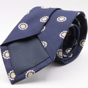 Cruciani & Bella 100% Silk Jacquard  Blue, Yellow and White Flowers Tie Handmade in Italy 8 cm x 150 cm #3341