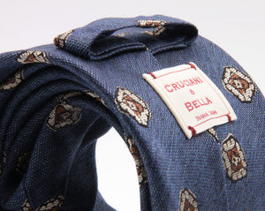 Cruciani & Bella 70% Silk 30% Wool Jacquard  Blue Denim, Beige and Brown Medallions Tie Handmade in Italy 8 cm x 150 cm #3774
