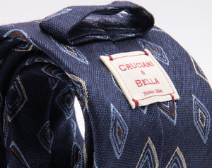 Cruciani & Bella 72% Silk 28% Wool Jacquard  Blue Denim, Light Blue, Brown and Beige Medallions Tie Handmade in Italy 8 cm x 150 cm #3773