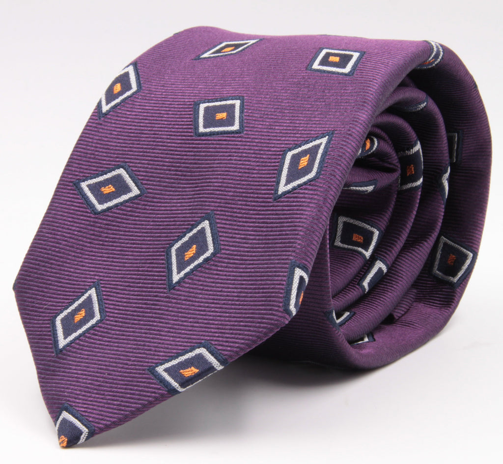 Cruciani & Bella 100% Silk Jacquard  Purple, Blue, Orange and White Lozenge Tie Handmade in Italy 8 cm x 150 cm #4486