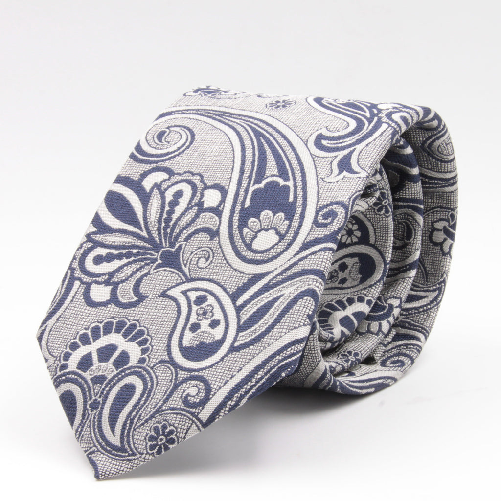 Cruciani & Bella 100% Silk Jacquard  Light Silver and Blue Paisley Tie Handmade in Italy 8 cm x 150 cm #4406