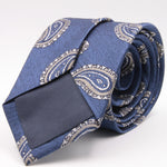 Cruciani & Bella 100% Silk Jacquard  Tipped Denim blue, White and Grey Paisley Tie Handmade in Italy 8 cm x 150 cm #4448