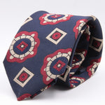 Franco Bassi for Cruciani & Bella 100% Silk Jacquard  Tipped Blue, Red and Beige Medallions tie Handmade in Italy 8 cm x 150 cm #3787