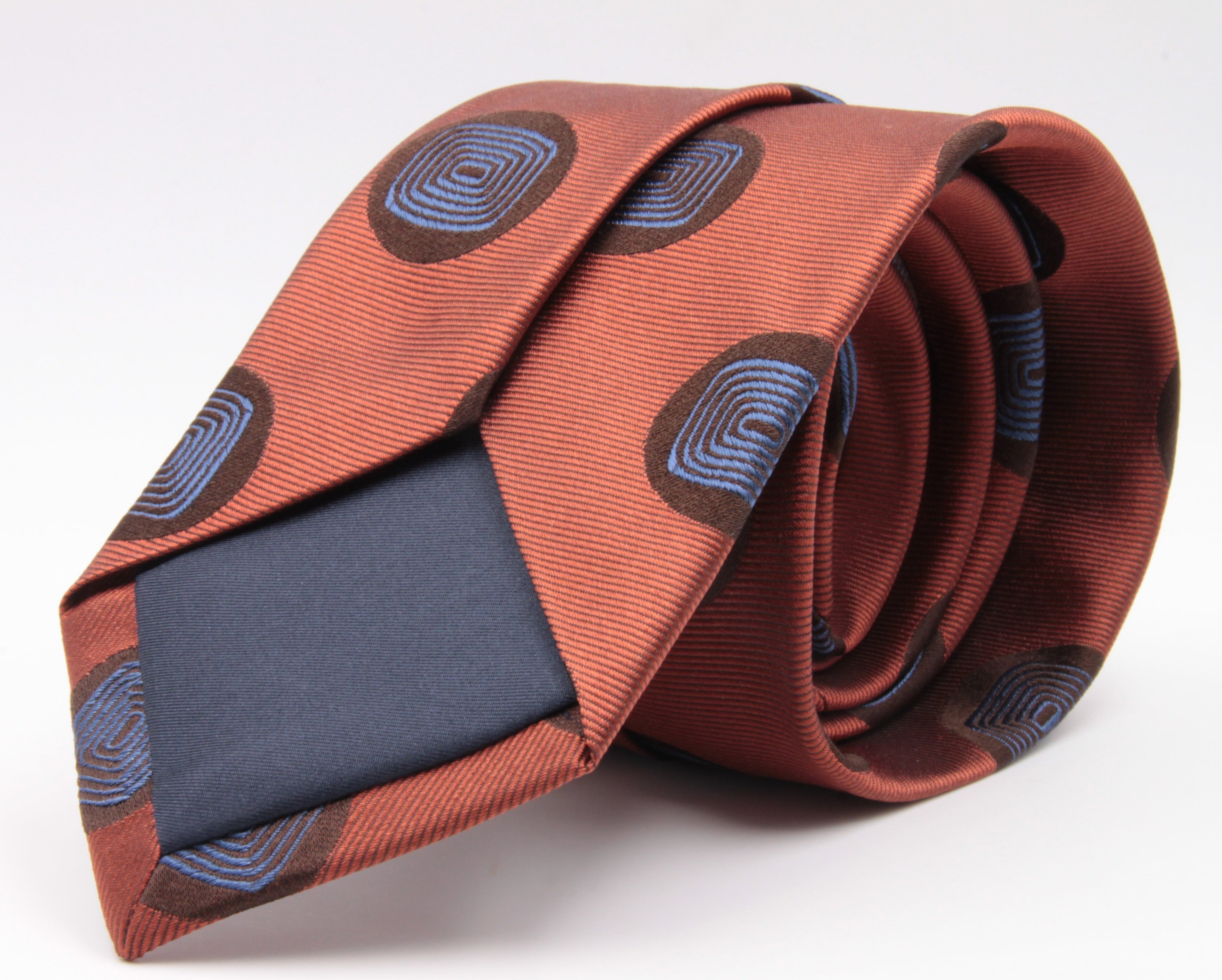 Cruciani & Bella 100% Silk Jacquard  Tipped Orange and Sky-Blue Medallions Tie Handmade in Italy 8 cm x 150 cm #3776