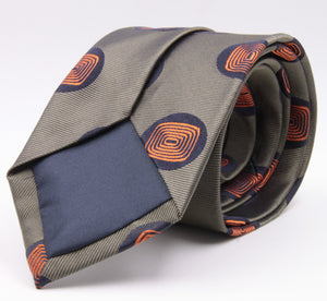 Cruciani & Bella 100% Silk Jacquard  Tipped Green and Orange Medallions Tie Handmade in Italy 8 cm x 150 cm #3777
