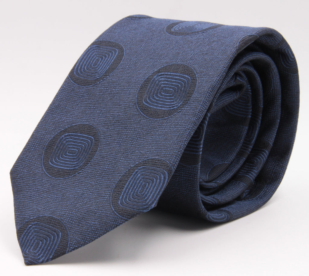 Cruciani & Bella 100% Silk Jacquard  Tipped Tone-on-tone Blue Medallions Tie Handmade in Italy 8 cm x 150 cm #4408