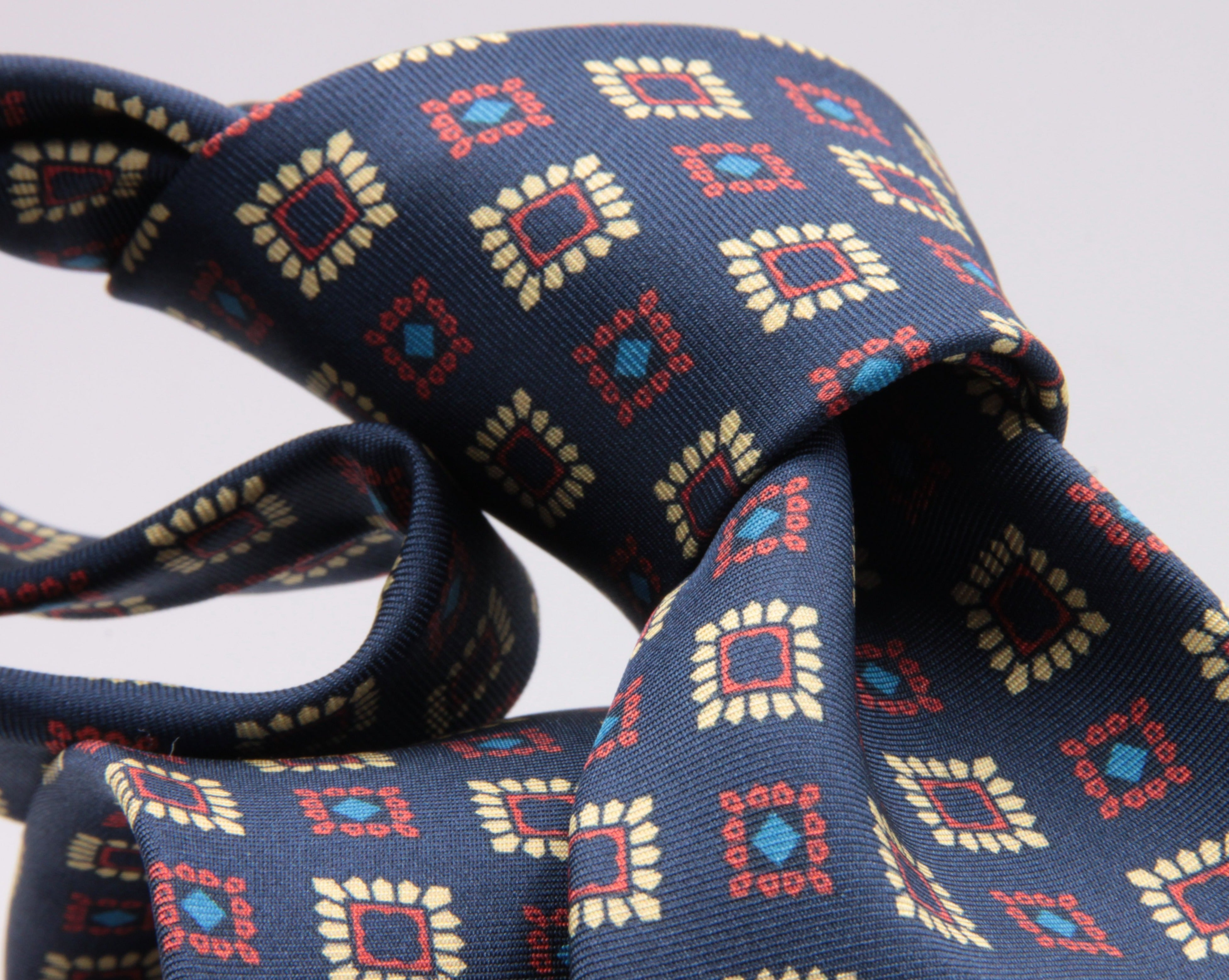 Cruciani & Bella 100% Silk Printed Tipped Blue, Yellow, Orange and Blue Sky Motif Tie Handmade in Italy 8 cm x 150 cm #4429