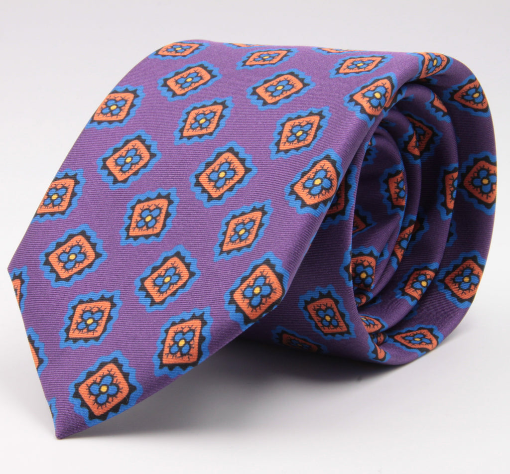 Cruciani & Bella 100% Silk Printed Tipped Purple, Orange, Blue Sky and Yellow Motif Tie Handmade in Italy 8 cm x 150 cm #4423