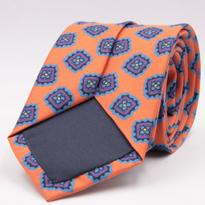 Cruciani & Bella 100% Silk Printed Tipped Orange, Blue Sky and Purple Motif Tie Handmade in Italy 8 cm x 150 cm #4425