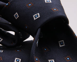 Cruciani & Bella 100% Silk Jacquard  Tipped Blue, White, Brown, and Light Blue Square Motif  Tie Handmade in Italy 8 cm x 150 cm #3133