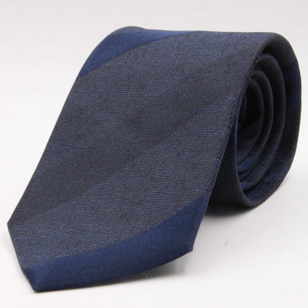 Cruciani & Bella 100% Silk Jacquard  Tipped Tone-on-tone Blue Striped Tie Handmade in Italy 8 cm x 150 cm #4419