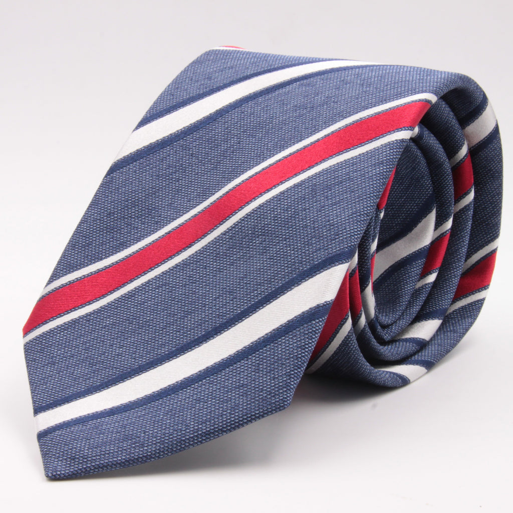 Cruciani & Bella 100% Silk Jacquard  Tipped Blue Melange, Red and White Striped Tie Handmade in Italy 8 cm x 150 cm #4444