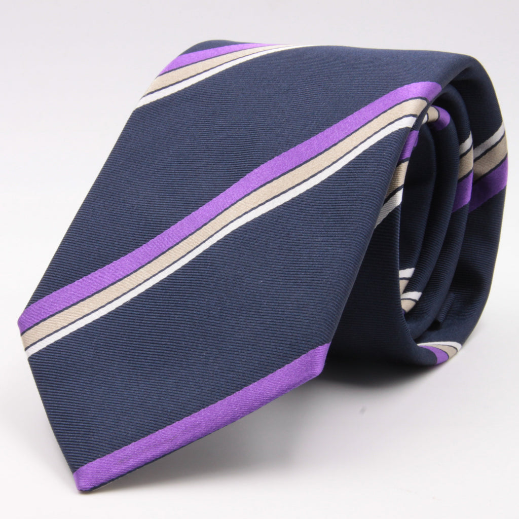 "Cruciani & Bella 100% Silk Jacquard  Tipped Blue, Purple, Beige and White Striped Tie Handmade in Italy 8 cm x 150 cm #4443 Options whit final ""A"""