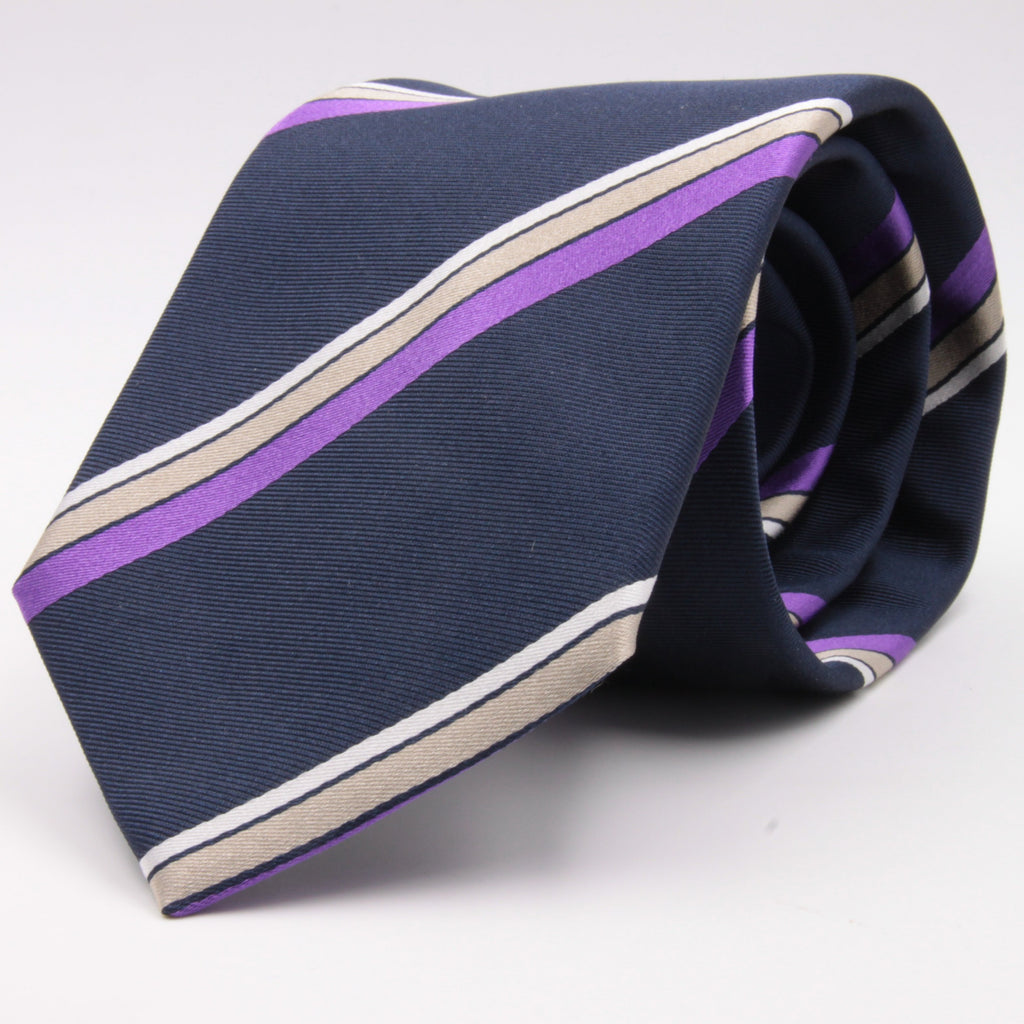 "Cruciani & Bella 100% Silk Jacquard  Tipped Blue, Purple, Beige and White Striped Tie Handmade in Italy 8 cm x 150 cm #4443 Options whit final ""B"""