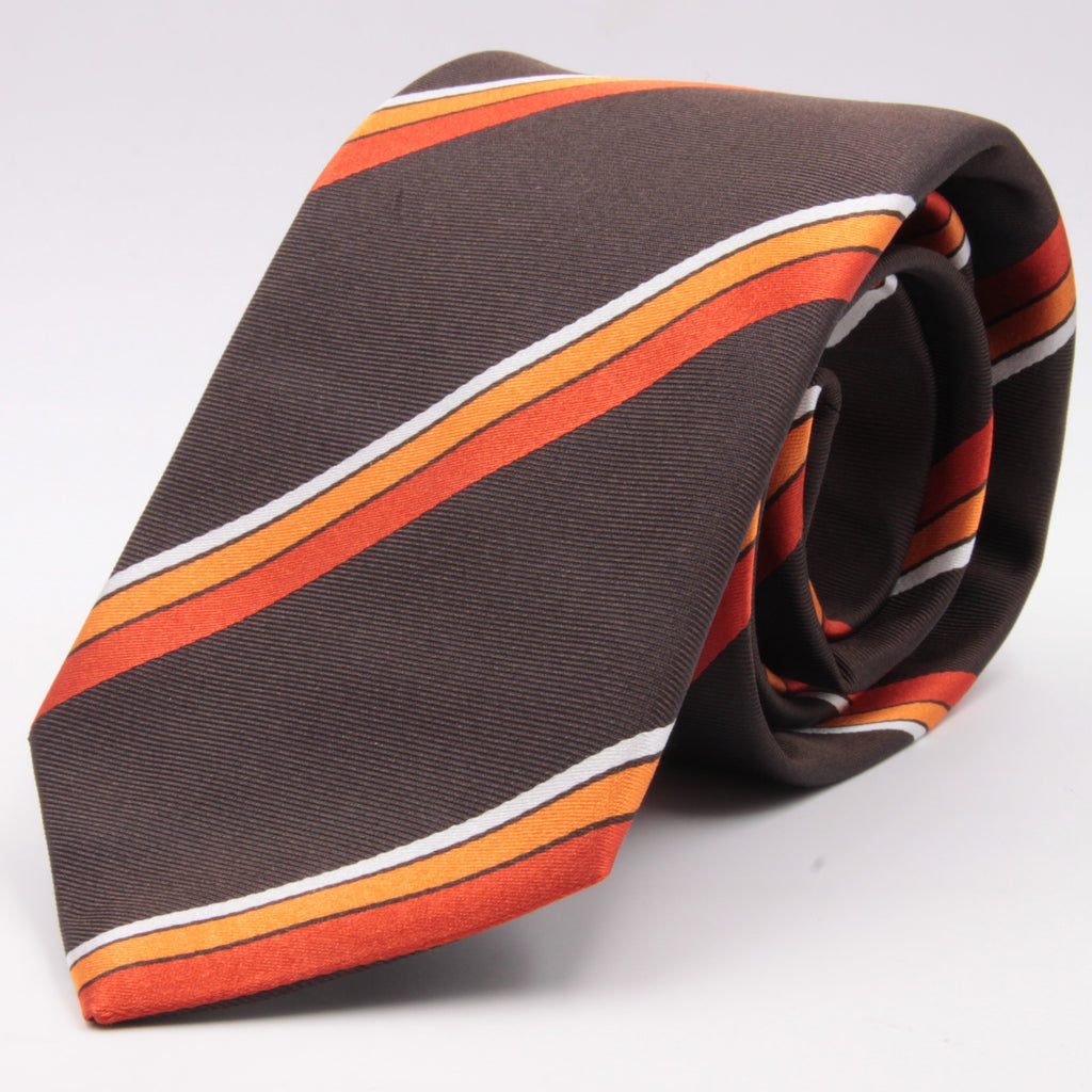 "Cruciani & Bella 100% Silk Jacquard  Tipped Brown, Orange and White Striped Tie Handmade in Italy 8 cm x 150 cm #4442 Options whit final ""A"""