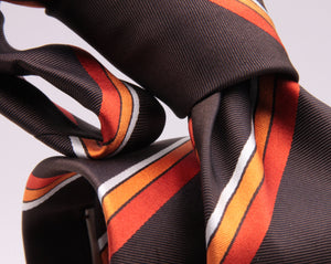 "Cruciani & Bella 100% Silk Jacquard  Tipped Brown, Orange and White Striped Tie Handmade in Italy 8 cm x 150 cm #4442 Options whit final ""B"""