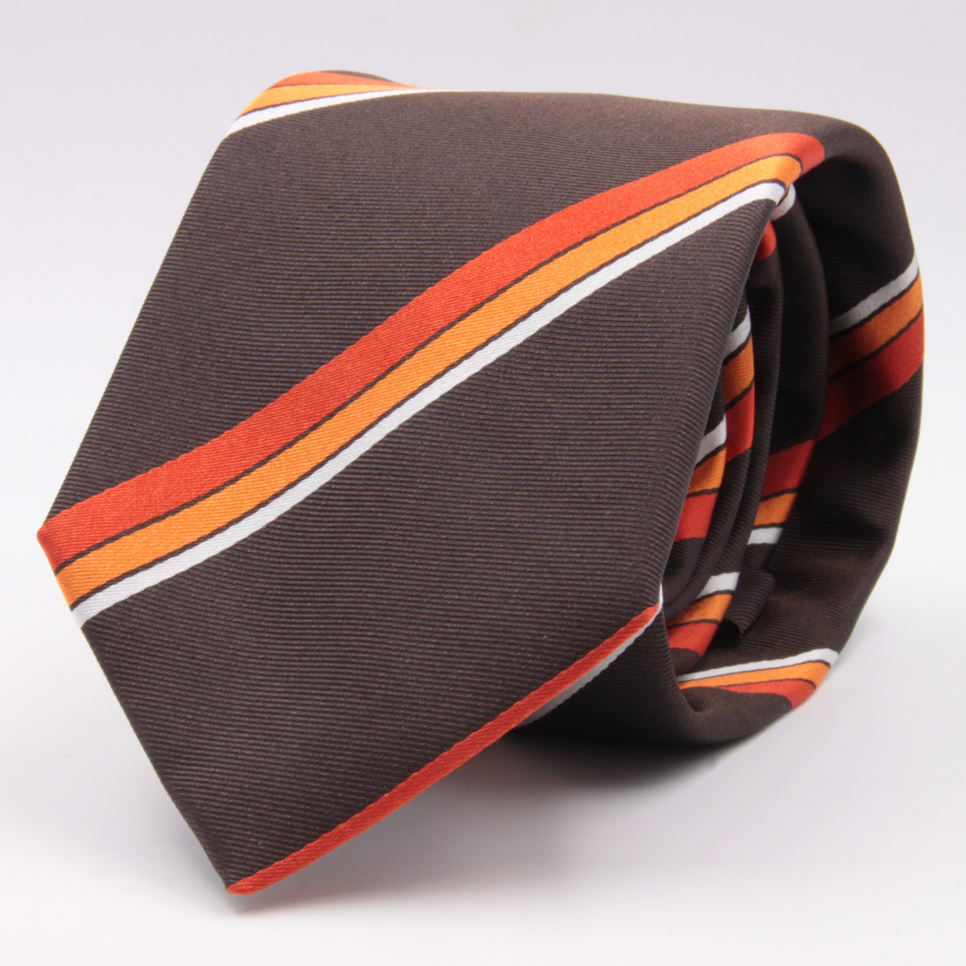 "Cruciani & Bella 100% Silk Jacquard  Tipped Brown, Orange and White Striped Tie Handmade in Italy 8 cm x 150 cm #4442 BIS Options whit final ""B"""