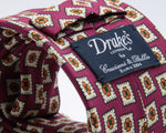 Drake's for Cruciani e Bella 100%  Printed Silk Tipped Fuchsia, Beige, Orange and Green Medallion tie 36 oz Handmade in London, England 8 cm x 150 cm