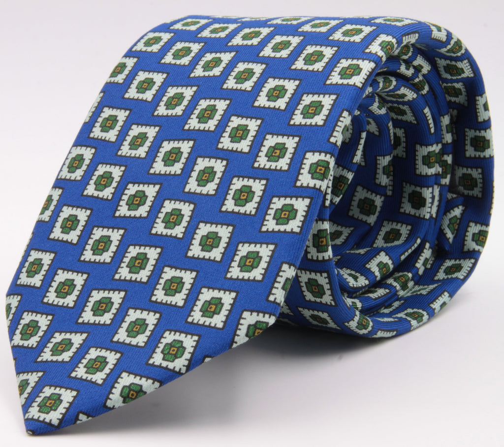 Drake's for Cruciani e Bella 100%  Printed Silk Tipped Light Blue, White, Green and Orange Medallion tie 36 oz Handmade in London, England 8 cm x 150 cm #4590
