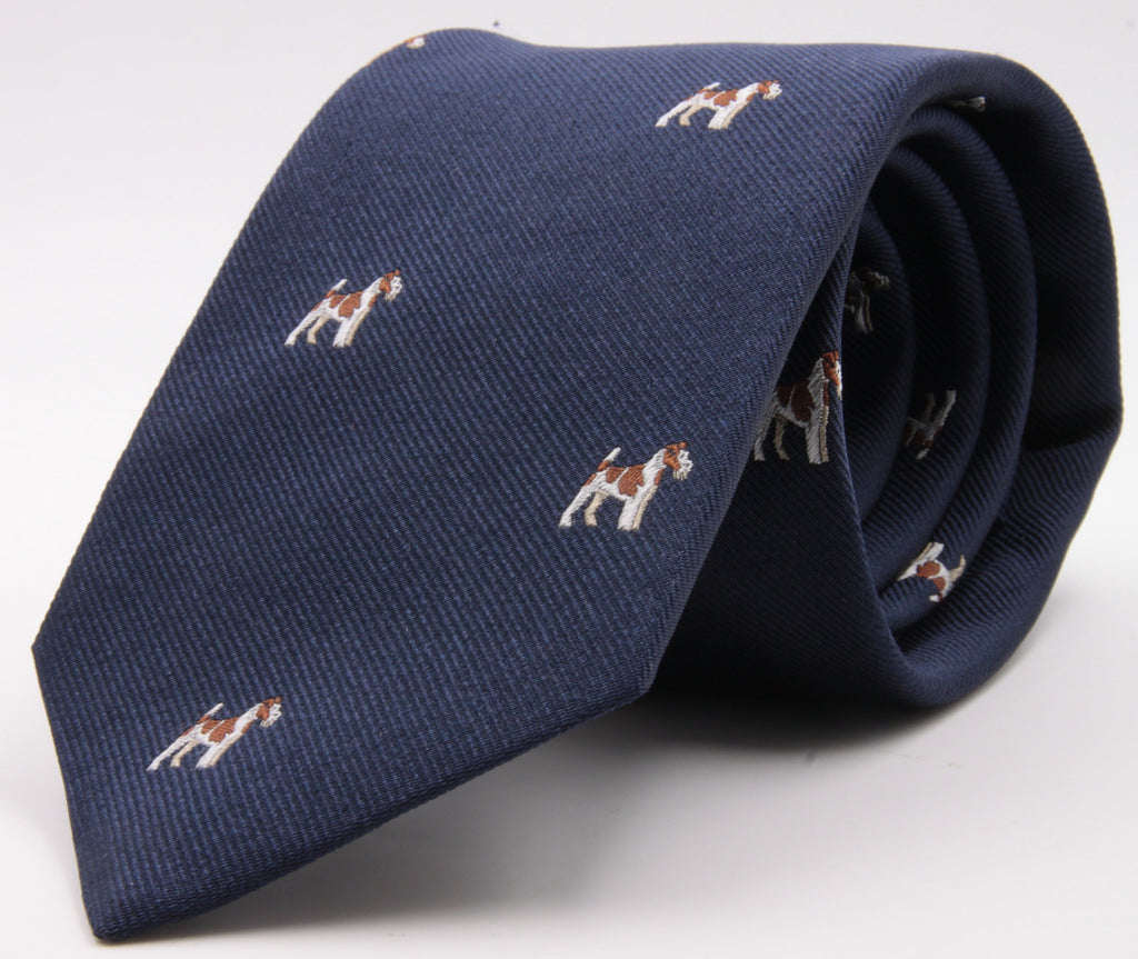 Drake's for Cruciani e Bella 100%  Woven Silk Tipped Navy, White and Brown Fox Terrier Motif tie Handmade in London, England 8 cm x 150 cm #5195
