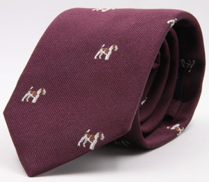 Drake's for Cruciani e Bella 100%  Woven Silk Tipped Wine, White and Brown Fox Terrier Motif tie Handmade in London, England 8 cm x 150 cm #5196