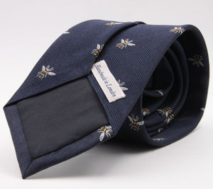 Drake's for Cruciani e Bella 100%  Woven Silk Tipped Navy, White and Yellow Bee Motif tie Handmade in London, England 8 cm x 150 cm #5193