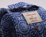Cruciani & Bella 100% Printed Silk Italian Fabric Self Tipped Blue and Light Blue Motif Tie Handmade in Rome, Italy 8 x 150 cm #5246