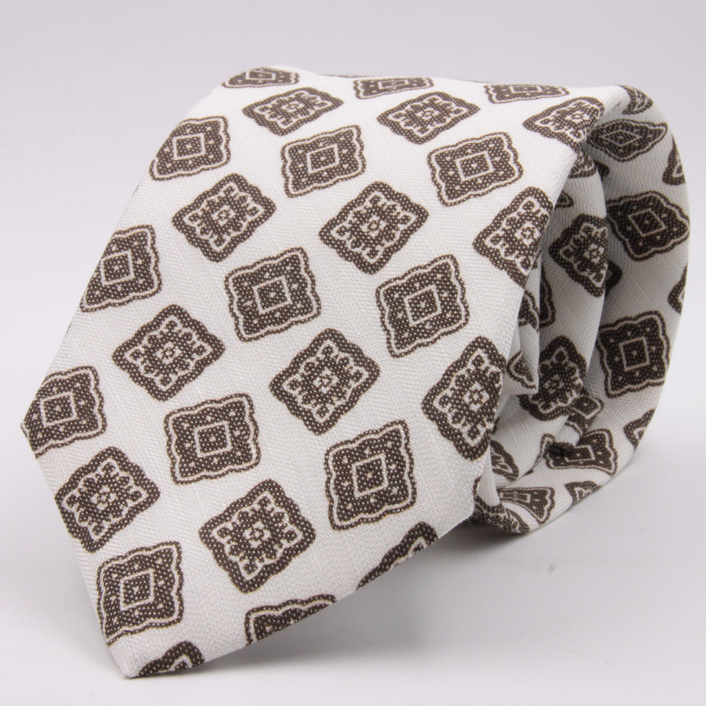 Drake's for Cruciani e Bella Printed 60% Silk 40% Linen Self-Tipped White and Brown Medallion Tie Handmade in London, England 8 cm x 149 cm #5425
