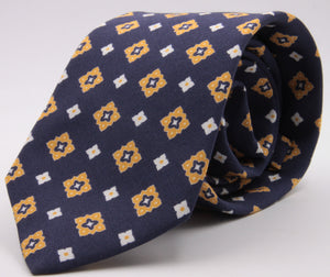 Drake's for Cruciani e Bella Printed 60% Silk 40% Cotton Self-Tipped Blue, Yellow and White Motif Tie  Handmade in London, England 8 cm x 149 cm