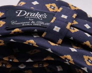 Drake's for Cruciani e Bella Printed 60% Silk 40% Cotton Self-Tipped Blue, Yellow and White Motif Tie  Handmade in London, England 8 cm x 149 cm #5430
