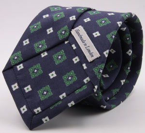 Drake's for Cruciani e Bella Printed 60% Silk 40% Cotton Self-Tipped Blue, Yellow and Green Motif Tie  Handmade in London, England 8 cm x 149 cm #5431