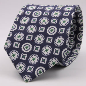 Drake's for Cruciani e Bella Printed 60% Silk 40% Cotton Self-Tipped Blue, Green and White Motif Tie  Handmade in London, England 8 cm x 149 cm #5423