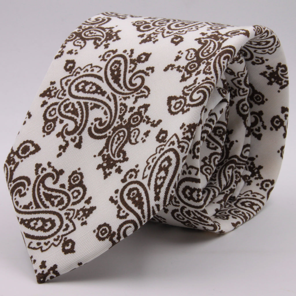 Drake's for Cruciani e Bella Printed 60% Silk 40% Cotton Self-Tipped Brown and White Paysley Motif Tie Handmade in London, England 8 cm x 149 cm #5411
