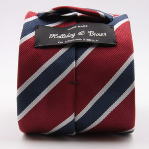"Holliday & Brown for Cruciani & Bella 100% Silk Jacquard  Regimental ""Old Finchley"" Red, Blue and White stripes tie Handmade in Italy 8 cm x 150 cm #5435"
