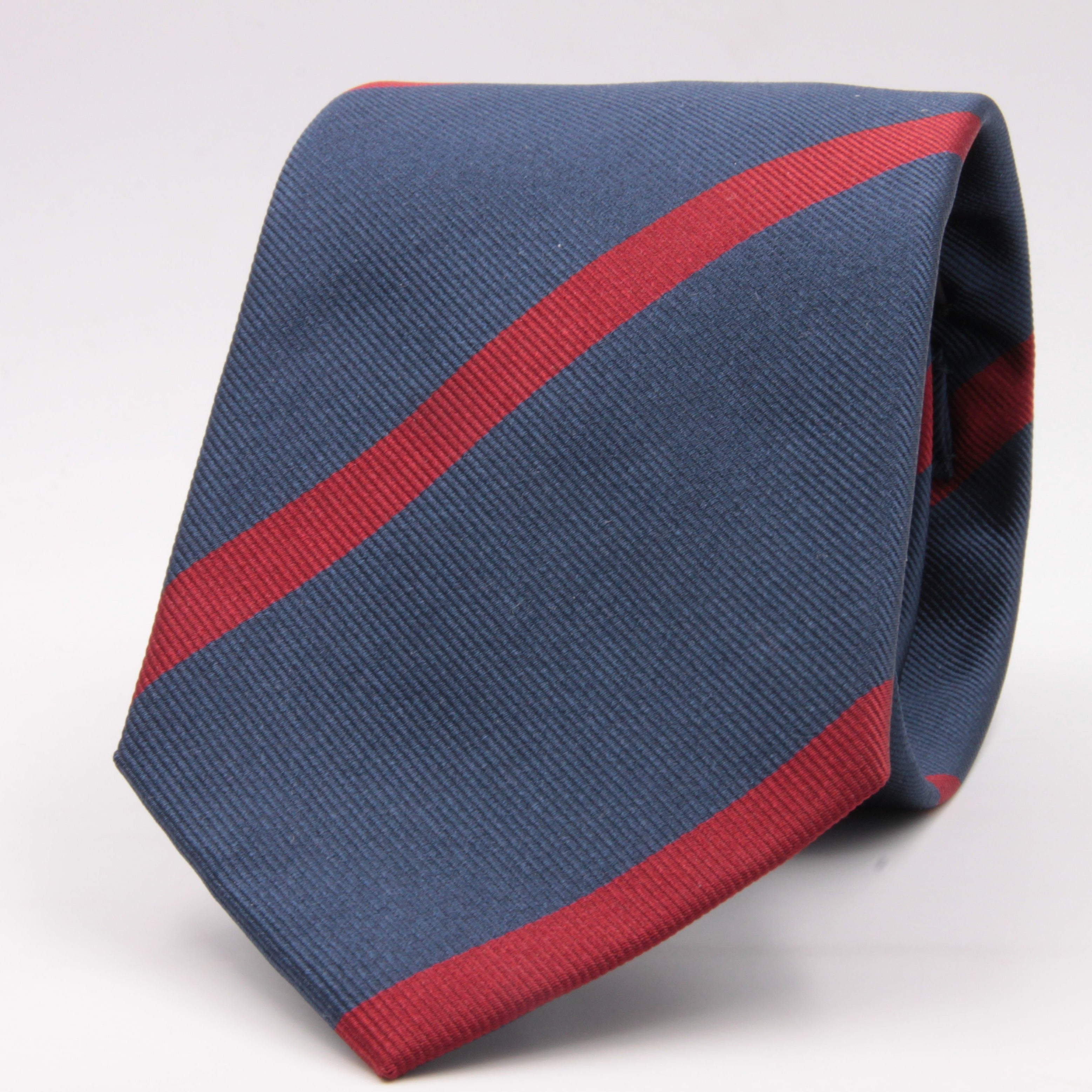 "Holliday & Brown for Cruciani & Bella 100% Silk Jacquard  Regimental ""Lincolnshire Regiment"" Blue and Red stripes tie Handmade in Italy 8 cm x 150 cm #5437"