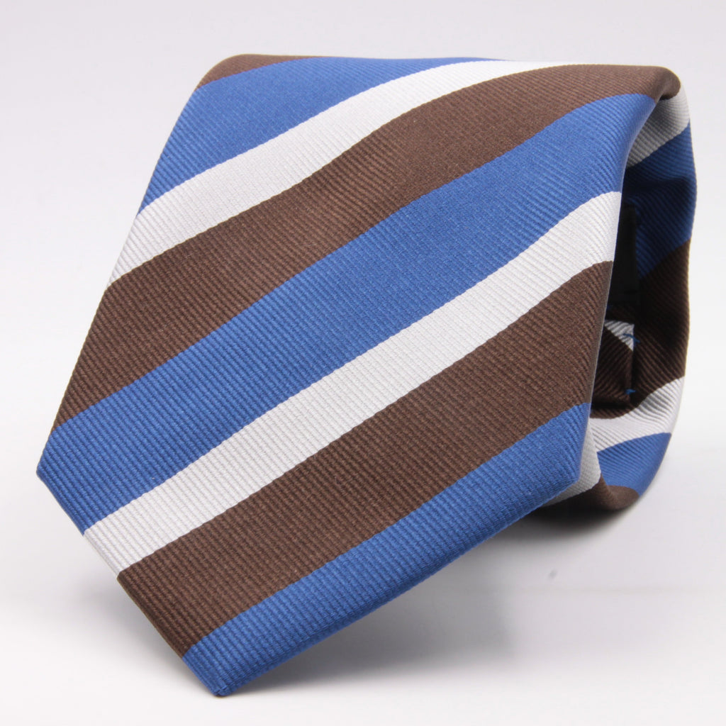 "Holliday & Brown for Cruciani & Bella 100% Silk Jacquard  Regimental ""Gentlemen of Yorkshire"" Light Blue, Brown and White stripes tie Handmade in Italy 8 cm x 150 cm #5438"