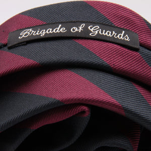 "Holliday & Brown for Cruciani & Bella 100% Silk Jacquard  Regimental ""Brigade of Guards"" Blue Black and Wine stripes tie Handmade in Italy 8 cm x 150 cm #5113"