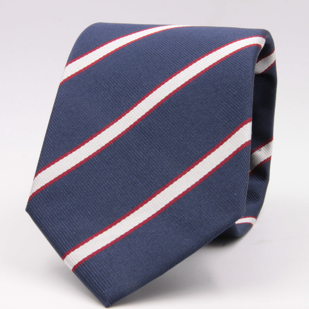 "Holliday & Brown for Cruciani & Bella 100% Silk Jacquard  Regimental ""Old Rossalians"" Blue, White and Red stripes tie Handmade in Italy 8 cm x 150 cm #5120"