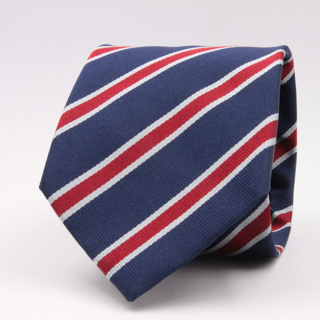 "Holliday & Brown for Cruciani & Bella 100% Silk Jacquard  Regimental ""Old Brightonians"" Blue, Red and white stripes tie Handmade in Italy 8 cm x 150 cm #5121"