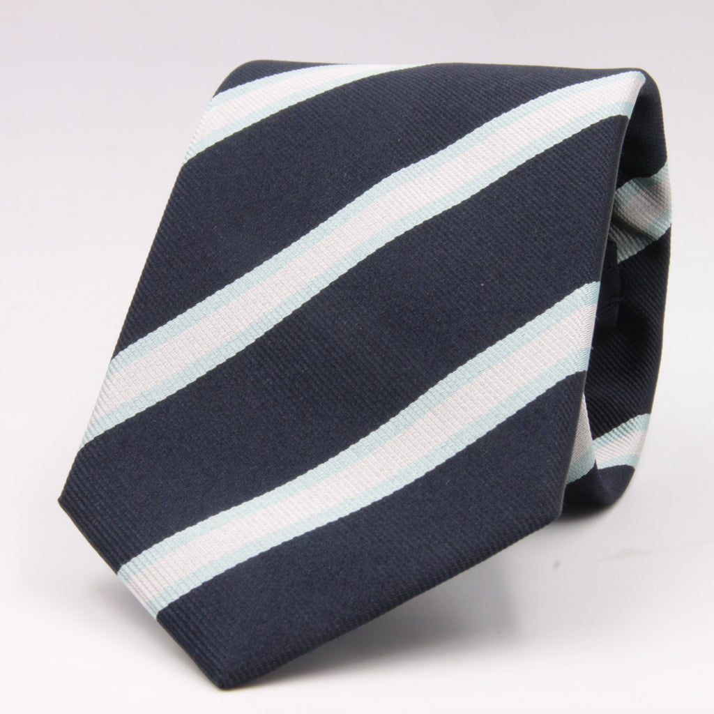 "Holliday & Brown for Cruciani & Bella 100% Silk Jacquard  Regimental ""Royal Observers Corps"" Blue, Light Blue and White stripes tie Handmade in Italy 8 cm x 150 cm #5122"